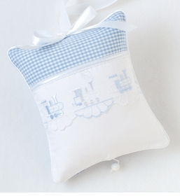embroidered trains crib bedding by blauen