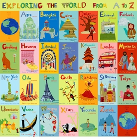 exploring the world from a - z wall art