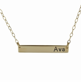 """extra long 14k gold name plate necklace - 1.25"""" or 1.5"""""""
