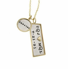 family rimmed charm necklace