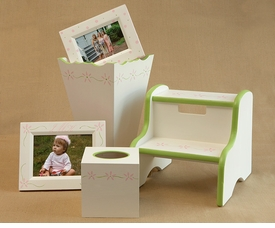 frame, tissue box & waste basket  set - flower border