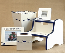 frame, tissue box & waste basket set - whale