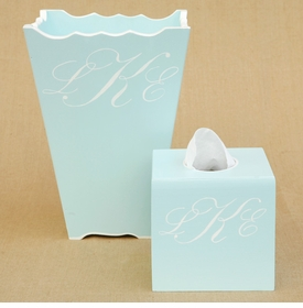frame, waste basket & tissue box set - script monogram