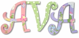 """frogs and dots curlz style 8"""" wooden hanging letters"""