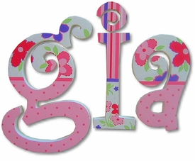 """gia! curlz style 8"""" wooden wall letters"""