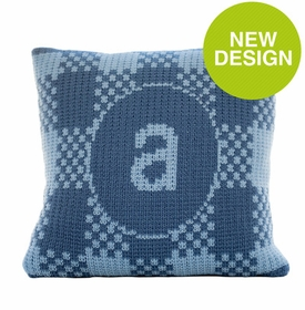 gingham pillow with single initial