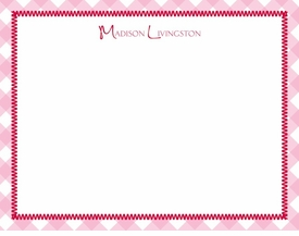 gingham pink children's stationary
