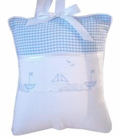 gingham sailboats embroidered crib bedding by blauen