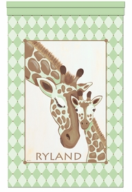 giraffe family grassland personalized wall hanging