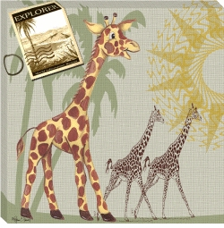 giraffe safari canvas print