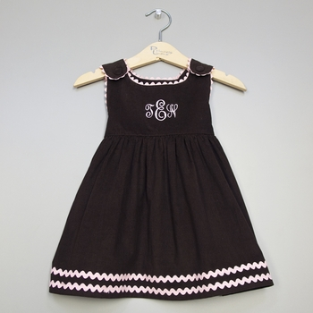 girl's dress - corduroy chocolate w/ pink ric rac