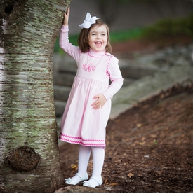 girl's dress corduroy pink with hot pink ric rac