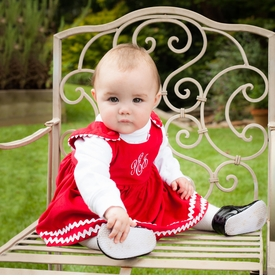 girl's red corduroy dress w/ white ric rac