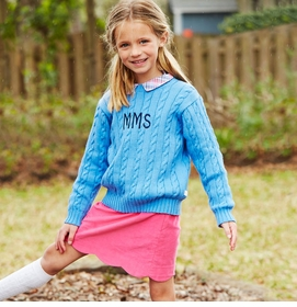 girls cableknit sweater (many colors available)