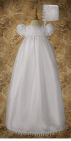 girls christening gown with chandelier trim
