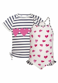 girls heart classic swimsuit and rash top set
