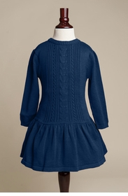 girls navy cable knit sweater dress