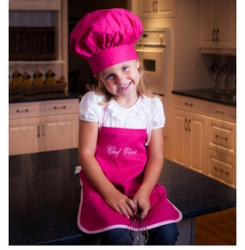 girls personalized chef apron set - hot pink