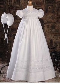 girls short sleeve christening gown with hand embroidery