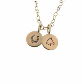 """gold necklace with two 3/8"""" gold charms"""