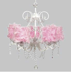 grace chandelier - pink feather shades