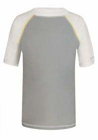 gray with yellow piping boy short sleeve rash top