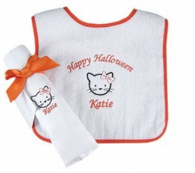halloween gift set - kitty bib and burp cloth