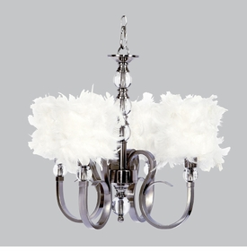 hampton chandelier - white feather shades