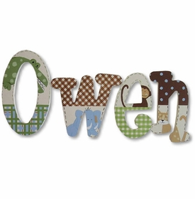 """hand painted 8"""" wooden letters - owen jungle"""