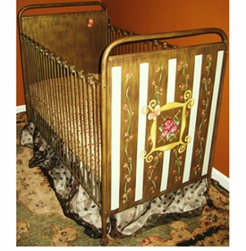 hand painted floral crib 42710