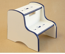 hand painted kids step stool - whale