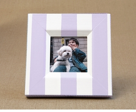 hand painted nantucket frame-lavender stripe