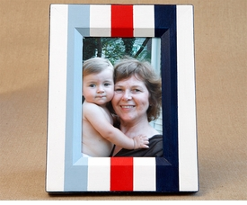 hand painted picture frame - blue nautical stripe
