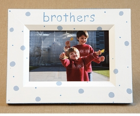 hand painted picture frame - brothers