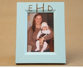 hand painted picture frame - hand monogram