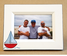 hand painted picture frame - sailboat (blue)