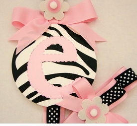 hand painted round wall letter hair bow holder - zebra