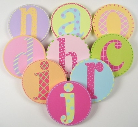 hand painted round wall letter set