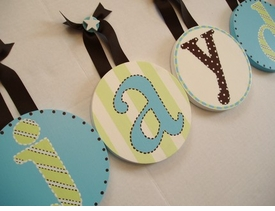 hand painted round wall letters - aqua and green