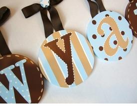 hand painted round wall letters - aqua brown