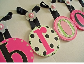 hand painted round wall letters - black pink