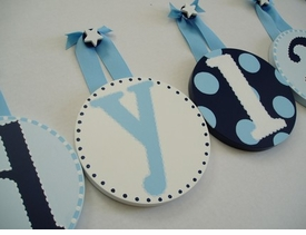 hand painted round wall letters - blue