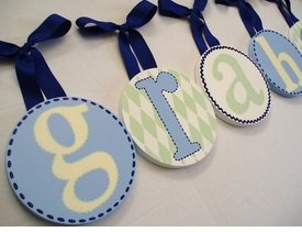 hand painted round wall letters - blue green