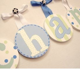 hand painted round wall letters - boys