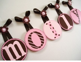 hand painted round wall letters - brown pink
