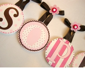 hand painted round wall letters -  brown pink dots