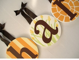 hand painted round wall letters - chocolate pumpkin