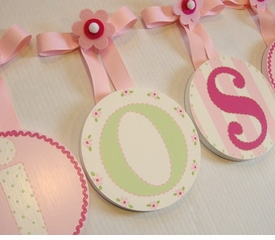 hand painted round wall letters - dainty flowers