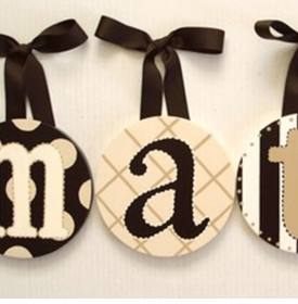hand painted round wall letters - dark chocolate and tan