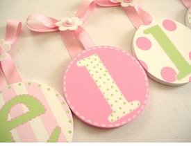 hand painted round wall letters - dots and stripes